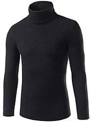 Недорогие -Муж. На выход Однотонный Длинный рукав Тонкие Обычный Пуловер, Хомут Темно синий / Серый / Винный XL / XXL / XXXL