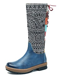 Недорогие -Жен. Комфортная обувь Кожа Зима Ботинки На низком каблуке Сапоги до колена Коричневый / Синий