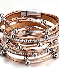 cheap -Women's Layered Charm Bracelet / Wrap Bracelet / Leather Bracelet - Leather Creative Vintage, Fashion Bracelet Pink / Light Blue / Champagne For Party