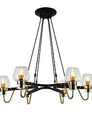 cheap -6-Head Northern Europe Chandelier Living Room Dining Room Transparent Glass Pendant Lights E12/E14 Bulb Base