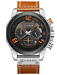 cheap -Men's Wrist Watch Quartz Water Resistant / Water Proof Calendar / date / day Chronograph Genuine Leather Band Analog Bangle Fashion Black / Brown / Grey - Brown black Red Black / Yellow / Large Dial