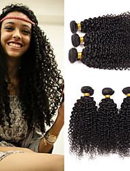 Недорогие -3 Связки Монгольские волосы Kinky Curly 8A Натуральные волосы Подарки Головные уборы Удлинитель 8-28 дюймовый Черный Естественный цвет Ткет человеческих волос Машинное плетение