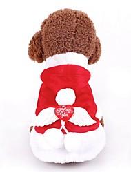 baratos -Cachorros / Gatos Casacos / Moletom / Smoking Roupas para Cães Simples Vermelho Poli / Mistura de Algodão Ocasiões Especiais Para animais de estimação Feminino Ano Novo