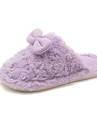 cheap -Girls' Shoes Rabbit Fur / PU(Polyurethane) Winter Comfort Slippers & Flip-Flops Walking Shoes Bowknot for Kids / Teenager Purple / Pink