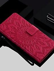 Недорогие -Кейс для Назначение Sony Xperia XZ2 Compact / Xperia XZ2 / Xperia XZ1 Compact Кошелек / Бумажник для карт / со стендом Чехол Цветы Твердый Кожа PU