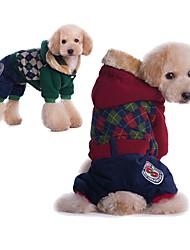 abordables -Chiens / Chats Manteaux Vêtements pour Chien Géométrique Rouge / Vert Coton Costume Pour les animaux domestiques Unisexe Sports & Activités d'Extérieur / Décontracté / Quotidien