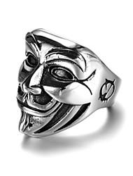 billiga -Herr Trendig Skulptur Bandring Statement Ring Ring - Kreativ, Ansikte Artistisk, Punk, Gotiskt 7 / 8 / 9 / 10 Silver Till Karnival Nattklubb
