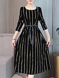 cheap -Women's Street chic / Elegant Sheath Dress - Striped Lace up / Print