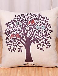 baratos -1 pçs Algodão / Linho Cobertura de Almofada, Árvores / Folhas / Moderno Estilo Moderno / Arte Deco / Retro