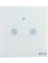 billiga -weto w-t12 eu / us / cn 2-gångs wifi smart väggbrytare touch sensor switch smart hem fjärrkontroll fungerar med alexa google hem via smartphone