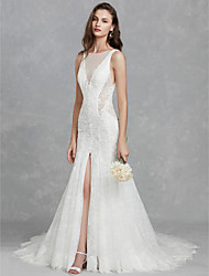 cheap -Mermaid / Trumpet Illusion Neck Court Train Lace Made-To-Measure Wedding Dresses with Appliques / Split Front by LAN TING BRIDE® / Beautiful Back