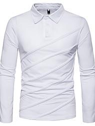 Недорогие -Муж. Polo Рубашечный воротник Однотонный / Длинный рукав