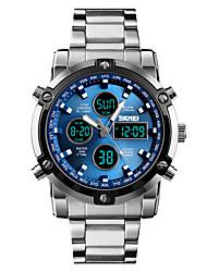 Недорогие -SKMEI Муж. Спортивные часы Армейские часы Цифровой 30 m Защита от влаги Будильник Секундомер Нержавеющая сталь Группа Аналого-цифровые На каждый день Мода Черный / Серебристый металл -  / Один год