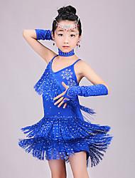 ราคาถูก -ชุดเต้นละติน ชุดเดรสต่างๆ เด็กผู้หญิง Performance สแปนเด็กซ์ พู่ / ชั้น / คริสตัล / พลอยเทียมต่างๆ เสื้อไม่มีแขน สูง ชุดเดรส