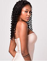 Недорогие -Натуральные волосы Полностью ленточные Парик Индийские волосы Глубокий курчавый Природа Черный Парик Ассиметричная стрижка 130% Плотность волос с детскими волосами Женский Натуральный Лучшее качество