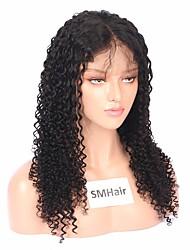 billige -Remy hår Helblonde Paryk Brasiliansk hår Krøllet Paryk Mellemdel 130% Dame Sort Dame Lang Blondeparykker af menneskehår