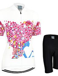 billige -Arsuxeo Dame Kortærmet Cykeltrøje og shorts - Rød Cykel Shorts / Trøje / Tøjsæt, Hurtigtørrende, Anatomisk design, Åndbart Polyester Blomster / botanik / Elastisk