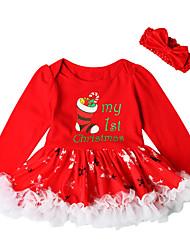 baratos -bebê Para Meninas Activo / Básico Natal / Festa / Aniversário Estampado Manga Longa Acima do Joelho Algodão / Poliéster Vestido Vermelho 100