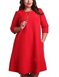 Недорогие -Жен. Большие размеры Классический Прямое Платье - Однотонный До колена Красный