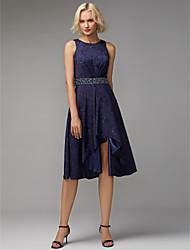 preiswerte -A-Linie Schmuck Asymmetrisch Jacquard Cocktailparty Kleid mit Gerafft durch TS Couture®