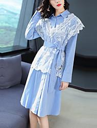 cheap -Women's Elegant Shirt Dress - Color Block Lace / Patchwork