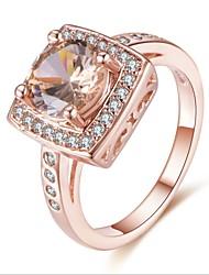 abordables -Femme Zircon cubique Empiler Bague - Cuivre, Plaqué Or Rose Luxe, Elégant 6 / 7 / 8 / 9 Or Rose Pour Cadeau