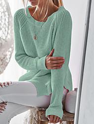 זול -מבוגרים M / L / XL אודם / בז' / צהוב צווארון עגול אביב / סתיו כותנה / תערובת צמר, סוודר רגיל רגיל שרוול ארוך אחיד בסיסי יומי בגדי ריקוד נשים
