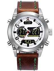 Недорогие -Муж. Спортивные часы Нарядные часы электронные часы Японский Кварцевый Нержавеющая сталь Натуральная кожа Коричневый 100 m Защита от влаги Календарь Секундомер Аналого-цифровые / Фосфоресцирующий