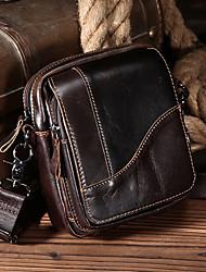 Недорогие -мужские сумки наппа кожаный мешок плеча молния коричневый