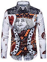 Недорогие -Муж. Большие размеры - Рубашка Винтаж Геометрический принт Белый / Длинный рукав