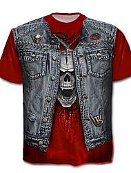 baratos -Homens Tamanhos Grandes Camiseta Caveira / Exagerado Estampado, Estampa Colorida / Caveiras Algodão / Manga Curta