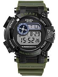 Недорогие -SMAEL Муж. Спортивные часы Японский Цифровой 50 m Защита от влаги Календарь Секундомер Plastic Группа Цифровой Мода Черный / Тёмно-зелёный - Черный Темно-зеленый