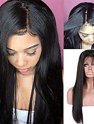 Недорогие -человеческие волосы Remy Полностью ленточные Лента спереди Парик Бразильские волосы Прямой Черный Парик Ассиметричная стрижка 130% 150% 180% Плотность волос / Природные волосы / с детскими волосами