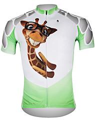 Недорогие -ILPALADINO Муж. С короткими рукавами Велокофты - Белый  / зеленый Жираф Велоспорт Джерси Верхняя часть, Дышащий Быстровысыхающий Ультрафиолетовая устойчивость 100% полиэстер / Впитывает пот и влагу