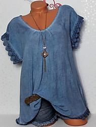 Недорогие -Жен. Большие размеры - Рубашка Классический Однотонный / Сексуальные платья