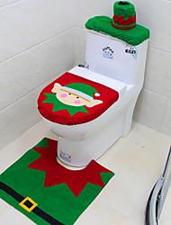 Недорогие -сиденье для унитаза, коврик, набор для ванной комнаты с бумажным полотенцем на Рождество, новогодние украшения для дома