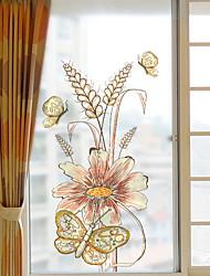 Недорогие -Оконная пленка и наклейки Украшение Обычные Цветы / Персонажи ПВХ Стикер на окна