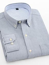 Недорогие -Муж. Офис Большие размеры - Рубашка Хлопок Тонкие Деловые / Классический Однотонный Темно синий / Длинный рукав