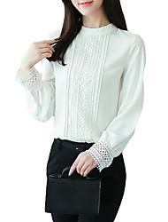 Недорогие -женская блузка - сплошной цветной шею