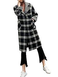 Недорогие -Жен. Повседневные Классический Наступила зима Длинная Пальто, Клетки Отложной Длинный рукав Полиэстер Черный S / M / L