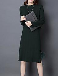 baratos -Mulheres Elegante Tricô Vestido Sólido Altura dos Joelhos