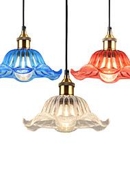 Недорогие -Северная Европа Современное стекло Подвеска свет Урожай творческий лотос лист форма стекло гостиная столовая прихожая кафе подвеска лампа
