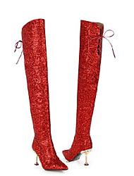 billiga -Dam Fashion Boots Elastisk tyg / Syntet Höst Stövlar Stilettklack Over-knee-stövlar Purpur / Silver / Röd