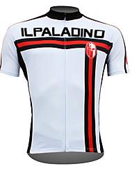 Недорогие -ILPALADINO Муж. С короткими рукавами Велокофты - Белый Вертикальные полосы Велоспорт Джерси Верхняя часть, Дышащий Быстровысыхающий Ультрафиолетовая устойчивость 100% полиэстер