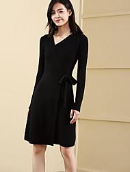 baratos -Mulheres Moda de Rua Delgado Tricô Vestido Sólido Decote V Acima do Joelho