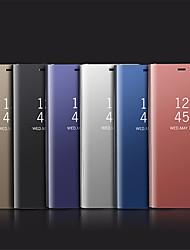 Недорогие -Кейс для Назначение SSamsung Galaxy S9 / S8 Покрытие / Зеркальная поверхность / Флип Чехол Однотонный Твердый Силикон для S9 / S9 Plus / S8 Plus