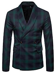 cheap -Men's Slim Blazer-Check Shawl Lapel / Long Sleeve