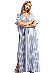 cheap -Women's Basic Abaya Dress - Striped Lace up