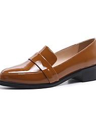 abordables -Femme Chaussures de confort Cuir Nappa Printemps été Mocassins et Chaussons+D6148 Block Heel Noir / Marron