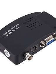 baratos -VGA Conversor, VGA para VGA / BNC / S-Vídeo Conversor Fêmea-Fêmea 1080P